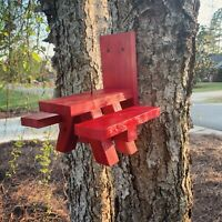Squirrel Feeder Picnic Table - RED in Color - Solid Wood - Made In USA