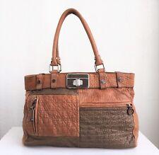 CHARLES DAVID Tan Leather Tote Satchel Bag Purse