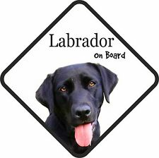 Black Labrador Lab On Board Car Sign With Sucker Dog Stickers
