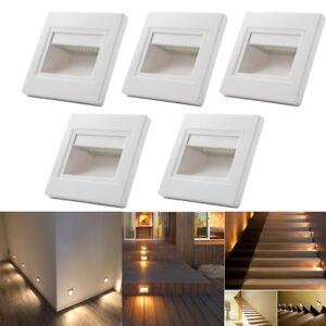 5 x 0.6W Warm White LED Wall Plinth Recessed Stair Hall Lamp Lights AC85-240V