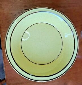 "Brendan Erin Stone Yellow Speckle Brown Trim 10"" Arklow Ireland Serving Bowl"