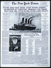 "RMS Titanic Sinks New York Times Newspaper Front Page Headline- 17"" x 22"" -00185"