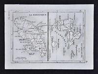 c1835 Levasseur Map - Guadeloupe Martinique Port Royal Caribbean Sea West Indies