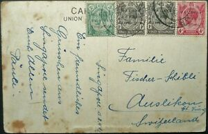 MALAYA BORNEO EXHIBITION STAMPS ON 1922 POSTCARD FROM SINGAPORE TO SWITZERLAND