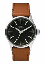 NIXON WATCH Sentry 38 Leather Black / Saddle A377 1037 - New in Box