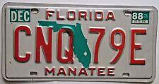 Florida 1988 MANATEE COUNTY License Plate HIGH QUALITY # CNQ 79E