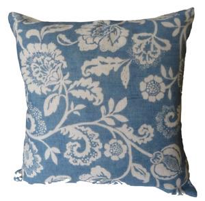 French Blue Jacobean Flowers Linen Look Home Decor Cushion Cover 45cm