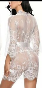 2pcs Lace Sheer Night Dress / Dressing Gown Size M