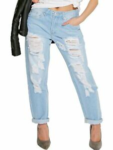 Womens Distressed Denim Jeans Curve Relaxed Fit Plus Size 16 18 22 14