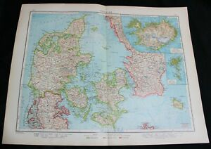 GERMAN ATLAS MAP PAGE PLATE OF DENMARK SWEDEN NORWAY VINTAGE PRE WWI EARLY 1900s