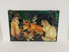 """New listing Unique Cat Stained Glass Window Hanging Sun Catcher 10""""x16.5"""" kitty cats decor"""