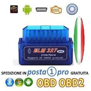 Interfaccia mini elm obd2 bluetooth diagnosi auto obdII can bus android torque