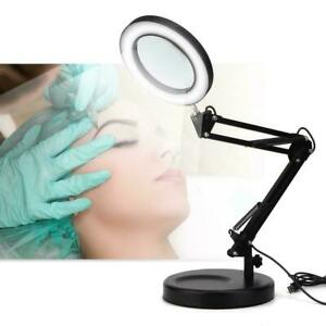Desktop Magnifier Lamp Tattoo Foldable 5X Magnifying Glass Led Lamp With Base