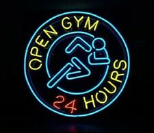 "New Open Gym 24 Hours Neon Light Sign 24""x24"" Lamp Poster Real Glass Beer Bar"