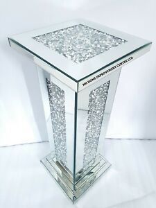 Sparkly Diamond Crush Crystal Square End Table Silver Mirrored 30x30x76cm