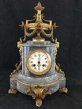 Elegant French Clock, Grey Marble and Gilt Brass, Victorian, Circa 1875, Running