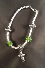Plus One Collection Leather Bracelet w/Green Beads & Crucifix Jesus Christ