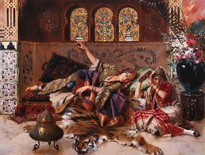 "Huge Oil painting portraits nice young Arabian girls sleeping on Tiger skin 36"""