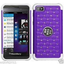 BlackBerry Z10 Laguna Spot Diamond Hybrid Case Skin Cover Purple White