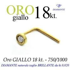 Piercing naso in ORO GIALLO 18kt. DIAMANTE taglio BRILLANTE kt.0,020 yellow gold