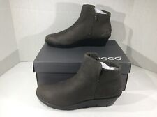 ECCO Womens Skylar Warm Gray Booties Wedges Boots Shoes Size 8 - 8.5 ZA-352