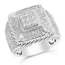 Heavy Wide 14K White Gold 2.58C Pave Round Diamond Mens Right Hand Ring