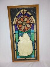 Vtg Mid Century Gravel Art Wall Hanging Religious Madonna & Child Stained Glass