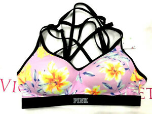 Victoria's Secret Pink Ultimate Strappy Push-Up Sports Bra Pink Floral NWT