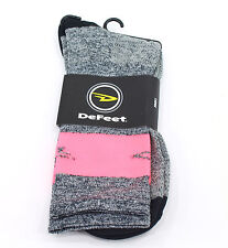 Defeet Aireator SL Sock, Gray Heather/Flamingo Pink Stripe, Large