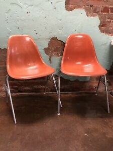 Set of 2 Fiberglass Herman Miller Eames Orange Vintage Chairs