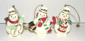 3 Lenox Snowmen Musician Christmas Ornaments 2003 Set