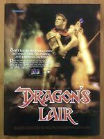 Dragon's Lair NES Nintendo 1990 Vintage Print Ad/Poster Art Official Authentic
