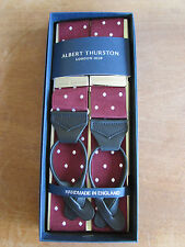 ALBERT THURSTON LEATHER END BRACES WINE/WHITE SPOT