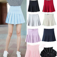 Women Girls Sexy High Waist Plain Skater Flared Pleated Short Mini Skirt Shorts