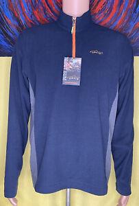 Men's Orvis Trout Bum Micro Grid 1/4 Zip Pullover Size Medium Navy / Orange