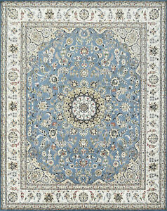 Fine Nain 8'x10' Blue Wool Hand-Knotted Oriental Rug
