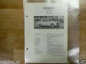 PE04-PEUGEOT TYPE 403 1955-1960 -TECHNICAL INFO VINTAGE CAR BERLINE SEDAN