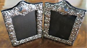VINTAGE ENGLISH STERLING SILVER DOUBLE PICTURE PHOTOGRAPH PHOTO FRAME EX-CONDIT.
