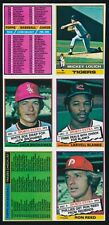 1976 Topps Baseball UNCUT SHEET 6-Cards -CHECKLIST x2, MICKEY LOLICH