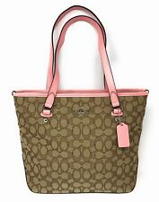 Coach Outline Signature Zip Top Tote Khaki & Blush - Style F58282 - $275 MSRP!