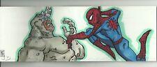 2012 UD Marvel Premier 7 Panel Booklet Sketch Rhino Vs Spider-Man by Lord Mesa