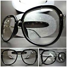 Men Women VINTAGE RETRO NERD Clear Lens EYE GLASSES Black & Silver Fashion Frame