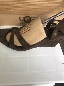 UGG Brown Suede Leather Wedge Sandals UK 9