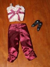 BARBIE DOLL SATIN RED PANTS, LACE SLEEVELESS TOP, & BLACK SHORT BOOTS