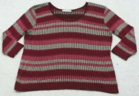 Womans Sweater Long Sleeve Crewneck Size 3X Women's Maurices XXXL Red & Gray