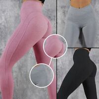 Womens Push Up Yoga Pants Seamless Gym Sports Leggings Running Workout Trousers