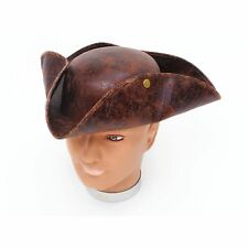 PIRATE BROWN 'ANCIENT LOOK' TRICORN HAT Ladies Mens Fancy Dress Accessory