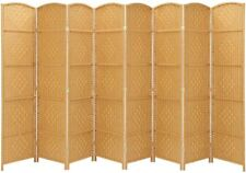 8 Panels Room Divider Privacy Folding Screen Weave Fiber Freestanding 6 Ft Beige