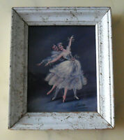 Vintage Art Print BALLERINA COUPLE Ballet Dancers Signed Carina White Wood FRAME
