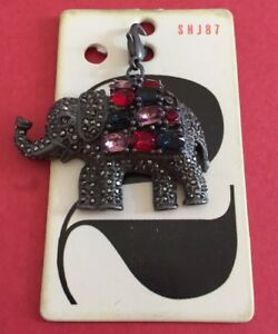 Elephant Charm With Jewels Sparkles Metal NEW Collectible Gray Blue Red Pink